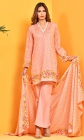 Printed ww cotton lawn shirt front(1.25M) ,Printed ww cotton lawn shirt back(1.25M) ,Printed cotton lawn dupatta(2.5M),Dyed cambric shalwar(2.5M)