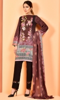 Printed ww cotton lawn shirt(2.5m) Printed cotton lawn dupatta(2.5m) Dyed cambric shalwar(2.5m) Embroideredorganza neckline(1)