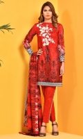 Printed and Embroidered cotton lawn shirt(2.50m) Printed cotton lawn dupatta(2.50m) Dyed cambric shalwar(2.50m)