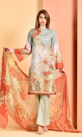 Digital Printed and Embroidered value lawn shirt(3.00m) Printed crinckle chiffon dupatta(2.50m) Dyed cambric shalwar(2.50m)