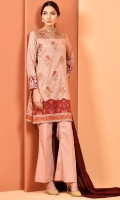 Printed and embroidered wider width cotton lawn shirt front(1.25m) Printed wider width cotton lawn shirt back(1.25m) Printed china silk dupatta(2.50m) Dyed cambric shalwar(2.50m) Embroidered organza lace(1.25m)