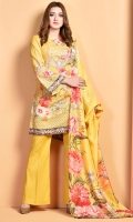 Digital Printed wider width cotton lawn shirt(3.00m) Printed silk dupatta(2.50m) Dyed cambric shalwar(2.50m)