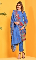 Printed wider width cotton lawn shirt(2.50m) Printed and embroidered cotton lawn dupatta(2.50m) Dyed cambric shalwar(2.50m)