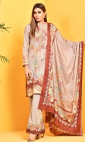 Digital Printed Wider Width cotton lawn shirt(2.5M) Digital Printed cotton lawn dupatta(2.5M) Printed cambric shalwar(2.5M) Embroidered organza neckline(1.00)