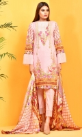 Digital Printed Cotton Lawn Shirt(2.5M) Printed China Silk Dupatta(2.5M) Dyed Cambric Shalwar(2.5M) Embroidered Organza Neckline(1.00 M)