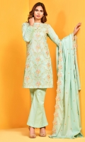 Dyed and embroidered cotton lawn shirt front(1.25m) Dyed and embroidered cotton lawn shirt back(1.75m) Dyed and embroidered cotton lawn dupatta(2.50m) Dyed cambric shalwar(2.50m)