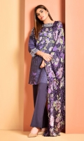 Printed and embellished Wider Width cotton lawn shirt(2.5M) Printed crinkle chiffon dupatta(2.5M) Dyed cambric shalwar(2.5M)