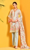 Printed and embroidered wider width cotton lawn shirt front(1.00m) Printed wider width cotton lawn shirt back(1.25m) Printed and embroidered cotton lawn dupatta(2.50m) Dyed cambric shalwar(2.50m)