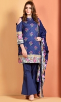 Printed and embroidered Wider Width cotton lawn shirt front(1.25 M) Printed Wider Width cotton lawn shirt back(1.65 M) Printed and embroidered cotton lawn dupatta(2.5 M) Dyed cambric shalwar(2.5 M)