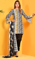 Printed cotton lawn shirt(2.75 M) Printed cotton lawn Dupatta(2.50 M) Dyed cambric shalwar(2.50 M)