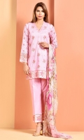 Printed and Embroidered Wider Width cotton lawn shirt front(1.25 M) Printed Wider Width cotton lawn shirt back(1.25 M) Printed crinckle chiffon dupatta(2.50 M) Dyed cambric shalwar(2.50 M) Embroidered organza lace(1)