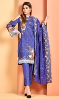 Digital Printed cotton lawn shirt(2.90m) Printed and embroidered cotton lawn dupatta(2.50m) Dyed cambric shalwar(2.50m)