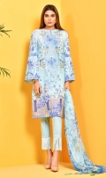 Printed and Embroidered value lawn shirt(3 M) Printed crinckle chiffon dupatta(2.50 M) ,Dyed cambric shalwar(2.50 M)