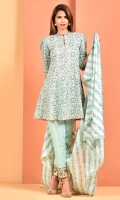 Printed Wider Width cotton lawn shirt (2.5M) Printed and embroidered cotton lawn dupatta(2.5M) Dyed cambric shalwar(2.5M)