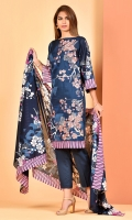 Printed and embroidered wider width cotton lawn shirt(2.50m) Printed cotton lawn dupatta(2.50m) Dyed cambric shalwar(2.50m)