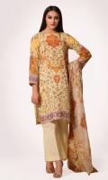 Digital Printed Wider Width Cotton Lawn Shirt(2.50m) Digital Printed & Embroidered Chiffon Dupatta(2.50m) Dyed Cambric Shalwar(2.50m)