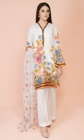 Printed Wider Width Lawn Shirt(2.50m) Embroidered Polynet Dupatta(2.50m) Dyed Cambric Shalwar(2.50m)