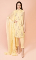 Dyed & Embroidered Wider Width Lawn Shirt Front(1.25m) Dyed & Embroidered Wider Width Lawn Shirt Back(1.50m) Dyed & Embroidered PK Chiffon Dupatta(2.50m) Dyed Cambric Shalwar(2.50m)