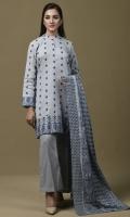 Printed wider width Khaddar Shirt(2.50m) Printed & Embroidered Khaddar Dupatta(2.50m) Dyed Khaddar Shalwar(2.50m)