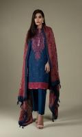 Printed & Embroidered Wider Width Khaddar Shirt Front(1.25m) Printed Wider Width Khaddar Shirt Back(1.25m) Printed Wool Shawl(2.50m) Dyed Khaddar Shalwar(2.50m)