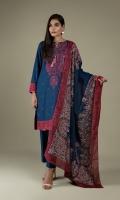 Printed & Embroidered Wider Width Khaddar Shirt Front(1.25m) Printed Wider Width Khaddar Shirt Back(1.25m) Printed & Embroiderd Khaddar Dupatta(2.50m) Dyed Khaddar Shalwar(2.50m)