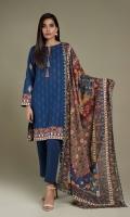 Printed Wider Width Khaddar Shirt(2.50m) Printed Khaddar Dupatta(2.50m)Dyed Khaddar Shalwar(2.50m)