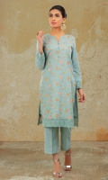 Dyed & Embroidered Lawn Karandi Shirt Front