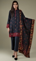 Printed & Embroidered Wider Width Khaddar Shirt Front(1.25m) Printed Wider Width Khaddar Shirt Back(1.50m) Printed Khaddar Dupatta(2.50m) Dyed Khaddar Shalwar(2.50m)