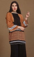 printed khaddar slub tunic in boat neck with stripes detailing