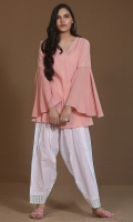 Pink karandi top with flared sleeves
