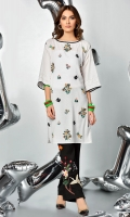 floral embroidered boat neck tunic with raw edge details in regular fit