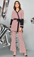 Pin stripes wrap around shirt with black trim detailing