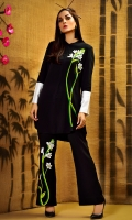 black button front top with front floral embroidery and silk cuffs in regular fit