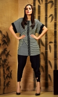 Geometrical printed top with front applique and embroidered button front placket in regular fit
