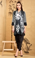 Black And White Bold Print Shirt In Regular Fit With Embroidered Side Panels