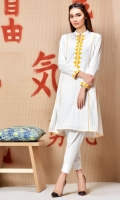 White embroidered kurta with yellow applique in regular fit