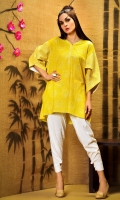 Pelikan printed lawn shirt with embroidered petal sleeves and neckline in a loose fit