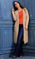 A light weight warm beige chunky knit long length cardigan with long sleeves and front pockets