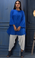 A Chic Round Hem Shirt With A Fashionable Front Placket Which Can Be Worn, With Or Without Showing The Buttons.  Flared Sleeves Add Galm To The Shirt.  The Front Has A Shorter Length Then The Back.  Can Be Worn,With Trousers Or Shalwar.