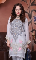 Embroidered Chiffon Front with Hand Embellishment Embroidered Chiffon Back Embroidered Chiffon Sleeves Embroidered Chiffon Ghera Embroidered Chiffon Dupatta Plain Chiffon Trouser