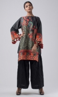 Digital printed pure cotton silk top with beautifully crafted seashell and wool tassels all around the sleeves.