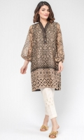 Screen-printed pure cotton-silk top with voluminous sleeves, an accentuated neckline and crystal buttons.