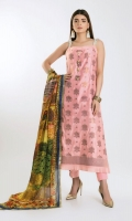 Net Jacquard Shirt 3.0m Digital Printed Tissue Silk Dupatta 2.5m Shalwar 2.5m Net Jacquard Patti 2Pc Kundan Buttons 5Pc