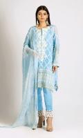 Embroidered Chiffon Shirt 3.0m Printed Chiffon Dupatta 2.5m Dyed Inner Fabric 2.5m Shalwar 2.5m Embroidered Organza Gala