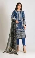Embroidered Chiffon Shirt 3.0m Printed Chiffon Dupatta 2.5m Dyed Inner Fabric 2.5m Shalwar 2.5m