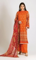 Embroidered Chiffon Shirt 3.0m Digital Printed Tissue Silk Dupatta 2.5m Dyed Inner Fabric 2.5m Shalwar 2.5m