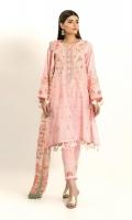 Self Jacquard Embroidered Shirt 3.25m Viscose Tissue Printed Dupatta 2.5m Shalwar 2.5m Embroidered Organza Gala & Patti