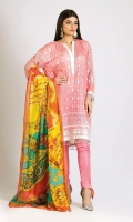 Embroidered Chiffon Shirt 3.0m Digital Printed Tissue Silk Dupatta 2.5m Dyed Inner Fabric 2.5m Shalwar 2.5m Embroidered Organza Patti