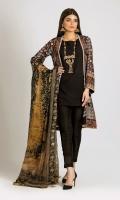 Embroidered Chiffon Shirt 3.0m Digital Printed Tissue Silk Dupatta 2.5m Dyed Inner Fabric 2.5m Shalwar 2.5m Embroidered Organza Gala