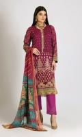 Embroidered Chiffon Shirt 3.0m Printed Chiffon Dupatta 2.5m Dyed Inner Fabric 2.5m Shalwar 2.5m Embroidered Organza Patt